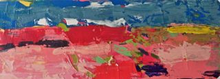An Acrylic painting by Jeanette Prout in the Abstract Expressionist style  depicting Landscape Bush Desert and Hills with main colour being Blue Orange and Pink and titled Outback from Broken Hill