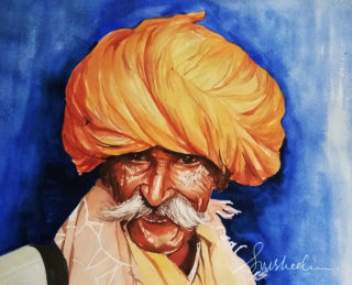 "A Watercolour artwork by Susheela Giri in the Contemporary Realist style  depicting People Man and Rural with main colour being Blue Brown and Gold and titled ""Chieftain"""