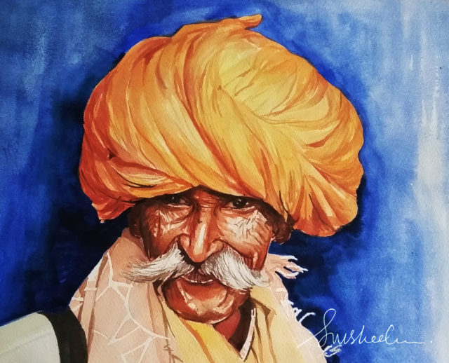 "Watercolour Painting by Susheela Giri titled ""Chieftain"""