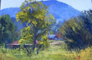 An Oil painting by Trish Bennett in the Impressionist style  depicting  Bush Farmland and Mountains with main colour being Blue Brown and Green and titled Country Living Bylong