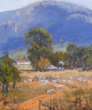 An Oil painting by Trish Bennett in the Impressionist style  depicting Landscape Animals Buildings and Bush with main colour being Blue Brown and Green and titled Living Life