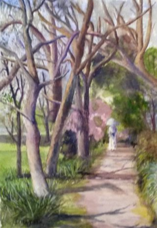 A Watercolour painting by Les Mortimer depicting Landscape Trees and Woman with main colour being Blue Green and Grey and titled Through the Trees