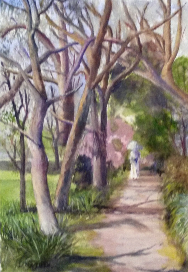 Watercolour Painting by Les Mortimer titled Through the Trees