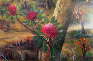 A Watercolour artwork by Les Mortimer depicting Flowers with main colour being Brown Green and Red and titled Waratahs 3