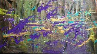 A Mixed Media painting by Margaret Morgan-Watkins in the Abstract style  and titled Play me a Symphony, and the Waters Danced