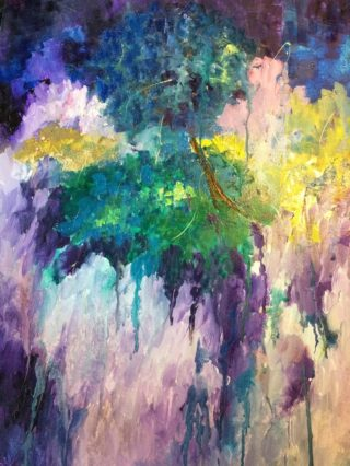 An Oil painting by Margaret Morgan Watkins in the Abstract style  with main colour being Blue Green and Purple and titled In a Reflective Mood