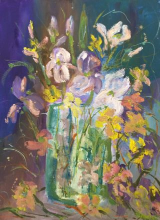A Water soluble Oil painting by Margaret Morgan Watkins Flowers and titled Beautiful Flowers in Vase