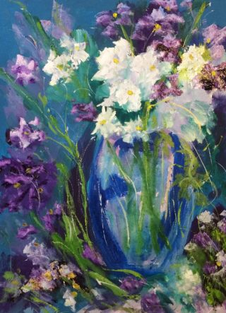 A Water soluble Oil painting by Margaret Morgan Watkins Flowers with main colour being Blue Purple and White and titled Flowers of Summer in Blue Vase