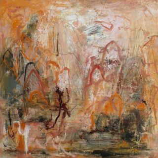 A Mixed Media artwork by Rhonda Campbell in the Abstract style  depicting  with main colour being Ochre and Orange and titled Outback Odyssey