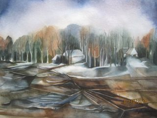 A Watercolour painting by Nayela Humayra depicting Trees with main colour being Black Brown and Grey and titled Winter and nature
