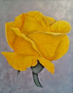 An Acrylic painting by Julie-Anne Gatehouse in the Contemporary style  depicting Flowers with main colour being Grey and Yellow and titled Yellow Rose