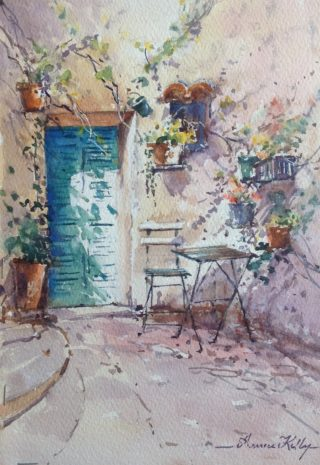A Watercolour artwork by Annee Kelly in the Impressionist style  depicting Buildings with main colour being Blue Cream and Grey and titled Courtyard with Green Door, South of France