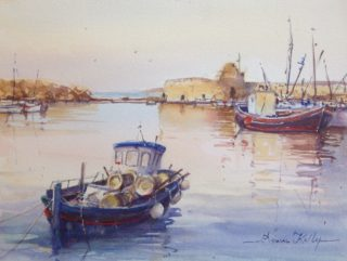 A Watercolour artwork by Annee Kelly in the Impressionist style  depicting Landscape Boats and Water with main colour being Blue Cream and Pink and titled Fishing Boat, Paros, Greece