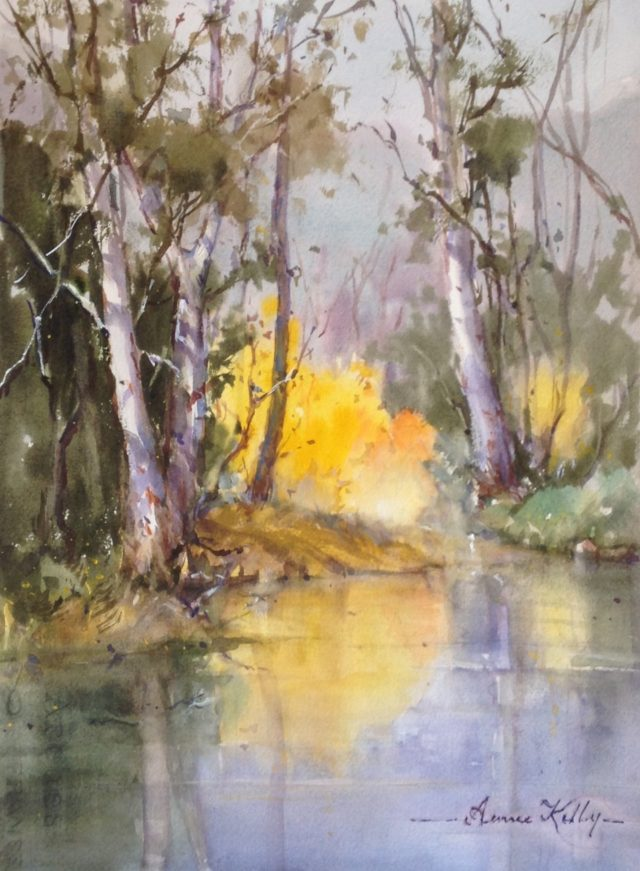 Watercolour Painting by Annee Kelly titled Magical corner in the Autumn