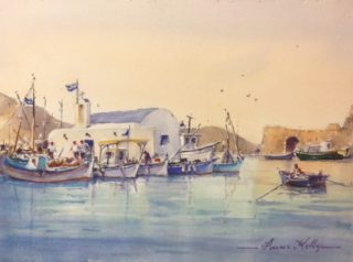 A Watercolour artwork by Annee Kelly in the Impressionist style  depicting Landscape Boats Buildings and Water with main colour being Blue and Pink and titled Small Fishing Port, Paros, Greece