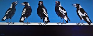 "An Acrylic painting by Geraldine Taylor in the Contemporary Realist style  depicting Animals and Birds with main colour being Black and Blue and titled ""Backyard Buskers"""