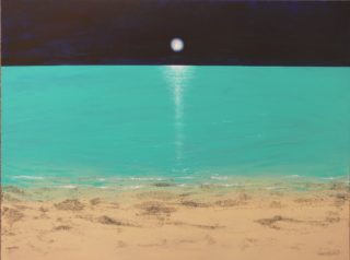 An Acrylic painting by Geraldine Taylor depicting Beach Moon and Water with main colour being Blue Green and Ochre and titled Blue Moon Dreaming