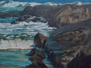 An Acrylic painting by John Duncan depicting Beach Rocks and Sea and titled D'Entrecasteaux