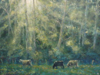 An Acrylic painting by John Duncan depicting Landscape Animals Bush and Farmland and titled Cow Paddock