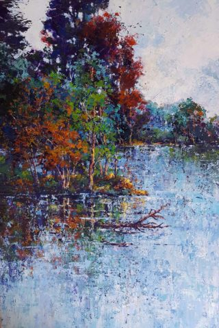 An Acrylic painting by Helen Miles depicting Landscape Lake and Trees with main colour being Blue Brown and Purple and titled A Day At The Lake