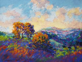 A Pastel artwork by Helen Miles depicting  Mountains and Trees with main colour being Blue Brown and Purple and titled Hilltops