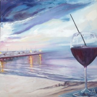 An Oil painting by Lesley Rosochodski in the Contemporary Realist style  depicting Seascape Beach Jetty and Sea and titled As the Lights Flare