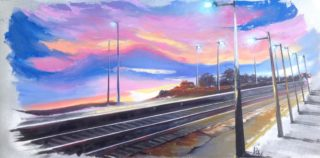 An Oil painting by Lesley Rosochodski in the Contemporary Realist style  depicting Landscape Rural and Sunrise with main colour being Black Gold and Pink and titled As the Train Approaches