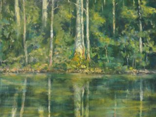An Acrylic painting by John Duncan in the Contemporary Realist style  depicting Landscape Trees and Water with main colour being Green and titled Plein Air Study
