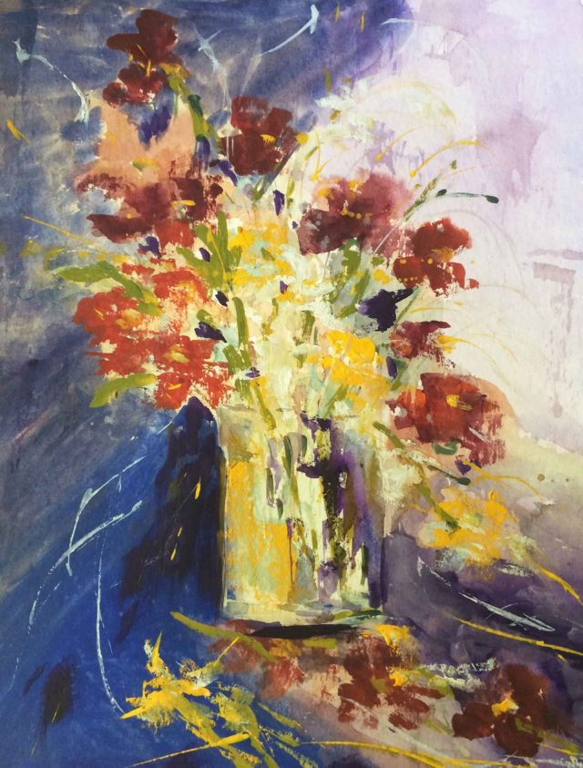 Mixed Media Painting by Margaret Morgan Watkins titled Floral Enchantment