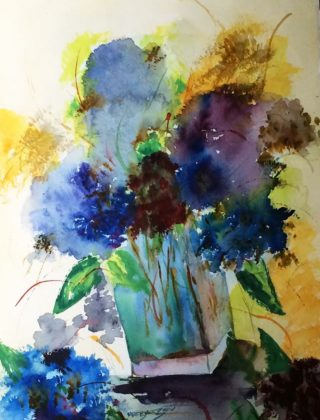 A Watercolour painting by Margaret Morgan Watkins depicting Flowers and titled Hydrangeas in Vase 2