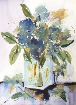 A Watercolour painting by Margaret Morgan Watkins depicting Flowers with main colour being Blue Green and Grey and titled Bernadine's Hydrangeas