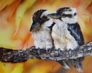 An Acrylic painting by Geraldine Taylor in the Contemporary Realist style  depicting Animals Birds and Outback with main colour being Brown Cream and Orange and titled Mates