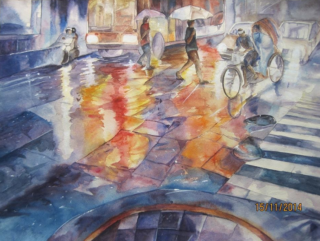 A Watercolour painting by Nayela Humayra in the Realist style  People and Streets with main colour being Blue Red and White and titled Rain in the city