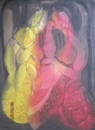 A Watercolour artwork by Nayela Humayra in the Impressionist style  depicting Woman with main colour being Grey Pink and Red and titled Sharing reality