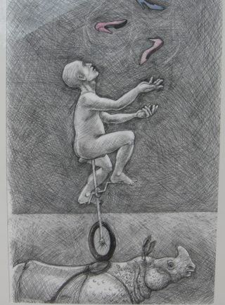 A Pencil drawing by Richard Byrnes depicting  Animals and Man with main colour being Grey and titled Drawing 1