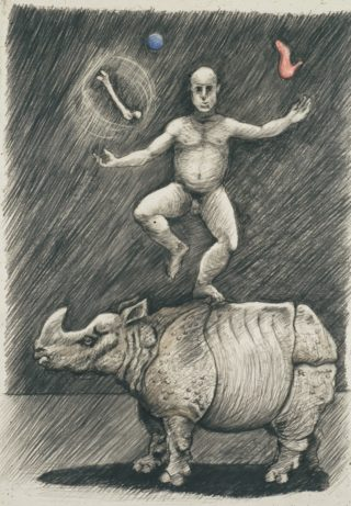 A Pencil drawing by Richard Byrnes depicting  Animals and Man and titled Drawing 2