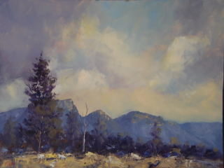 An Oil painting by Heinz Fickler in the Realist Impressionist style  depicting Landscape Mountains and titled Fyans valley ( Grampians Vic )