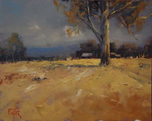 An Oil painting by Heinz Fickler in the Realist Impressionist style  depicting Landscape Rural and titled Paddock Guardian