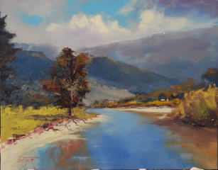 An Oil painting by Heinz Fickler in the Realist Impressionist style  depicting Landscape Rural and titled From the High Country