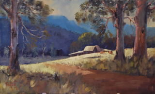 An Oil painting by Heinz Fickler in the Realist Impressionist style  depicting Landscape Mountains and titled Mt Buller Area ( Vic )