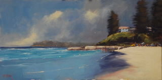 An Oil painting by Heinz Fickler in the Realist Impressionist style  depicting Landscape Beach and titled Yamba ( NSW )