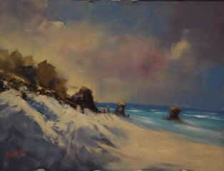 An Oil painting by Heinz Fickler in the Realist Impressionist style  depicting Seascape Beach and titled Evening Coastal Walk