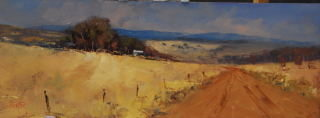 An Oil painting by Heinz Fickler in the Realist Impressionist style  depicting Landscape Farmland and titled North East Tasmania