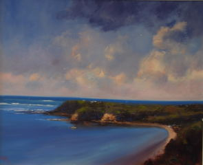 An Oil painting by Heinz Fickler in the Realist Impressionist style  depicting Seascape Beach and titled West Head Flinders (Vic )