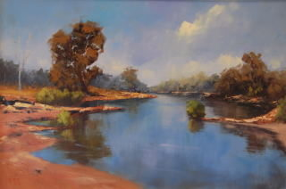 An Oil painting by Heinz Fickler in the Realist Impressionist style  depicting Landscape River and titled King Edward River ( Kimberley )