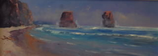 An Oil painting by Heinz Fickler in the Realist Impressionist style  depicting Seascape Beach and titled The Two Apostles ( Vic )