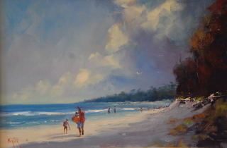 An Oil painting by Heinz Fickler in the Realist Impressionist style  depicting Seascape Beach and titled Can't Wait