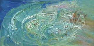 An Oil painting by David Wiggs depicting Landscape Water and Waves with main colour being Blue and titled Freshwater Rip