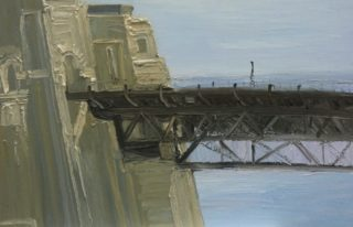 An Oil painting by David Wiggs depicting Bridge with main colour being Black Blue and Brown and titled Leaving the Seaport of Desire, The Bridge