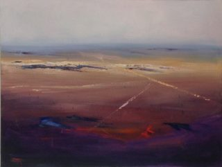 A  painting by Heinz Fickler depicting Landscape Outback with main colour being Blue Brown and Ochre and titled Outback